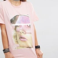 Criminal Damage | Criminal Damage X Manta Oversized Boyfriend T-Shirt With Face Graphic at ASOS