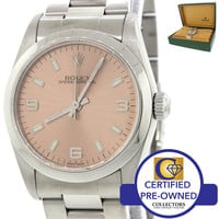 Ladies Rolex Oyster Perpetual Steel MidSize 31mm Pink Dial Watch 77080 w/Box