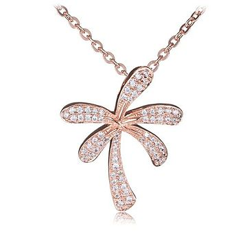 Palm Tree Sterling Silver Pendant Pink Gold Plated Pave Cubic Zirconia(Chain Sold Separately)