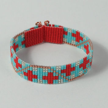 Southwestern Red & Turquoise Bead Loom Bracelet - Native American Inspired - Tribal - Boho - Bohemian - Artisanal Jewelry - Turquoise Red