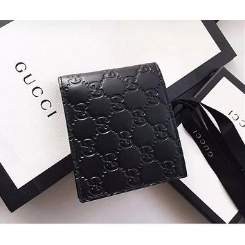 Gucci Classic Popular Men Women Print Leather Purse Wallet Black I/A