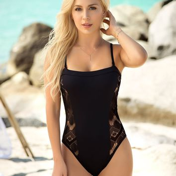 Black One  Piece Swimsuit- Women Swimwear