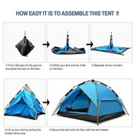 Waterproof Camping Tent, IClover 4 Person Instant Auto Pop Up [Double Layer] [Quick Setup] Hydraulic Automatic Shelter for Hiking Fishing Set Up In Seconds