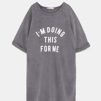SWEATSHIRT DRESS WITH SLOGAN DETAILS