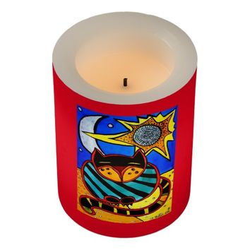 Sun and Moon Whimsical Cat Art Flameless Candle