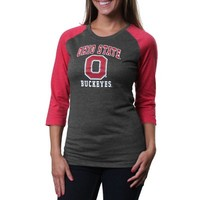 Ohio State Buckeyes Women's Nimbus Three-Quarter Sleeve T-Shirt - Charcoal/Scarlet