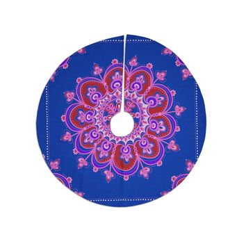 "Jane Smith ""India Meditation Mandala Tile"" Pink Blue Contemporary Modern Digital Vector Tree Skirt"
