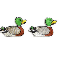 Set 2pcs. Mallard Duck New Iron On Patch Embroidered Applique Size 4.8cm.x3.2cm.