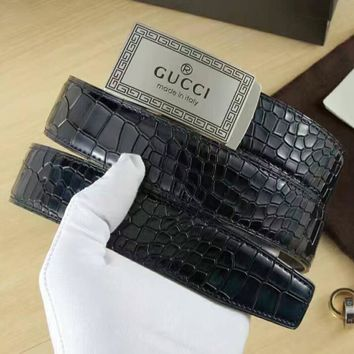 One-nice™ GUCCI Woman Men Fashion Smooth Buckle Belt Leather Belt I-A-GFPDPF