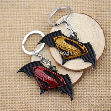 2015 New Arrival Batman v Superman: Dawn of Justice Logo Keychain Alloy Metal Keyring Good Gift For Fans