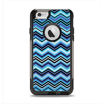 The Thin Striped Blue Layered Chevron Pattern Apple iPhone 6 Otterbox Commuter Case Skin Set