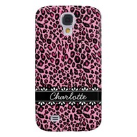 Fashionable Pink Leopard Print and Lace Galaxy S4 Case
