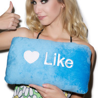 Throwboy Like Button Pillow Blue One