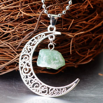 Green amethyst raw stone and silver moon filigree pendant with silver chain necklace.