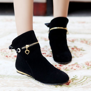 Suede Round Toe Flat Heel Zipper Decoration Back Strap Ankle Boots