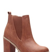 Tan Faux Leather Chunky Buildy Booties @ Cicihot Heel Shoes online store sales:Stiletto Heel Shoes,High Heel Pumps,Womens High Heel Shoes,Prom Shoes,Summer Shoes,Spring Shoes,Spool Heel,Womens Dress Shoes