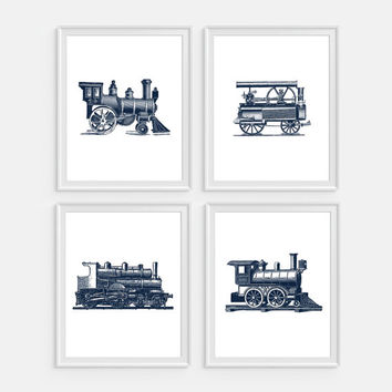 Train Art Print, Steam Train, Railroad Wall Art, Steam Locomotive Set of 4 Prints Train Wall Art, Nursery Decor, Steam Engine, Train Decor