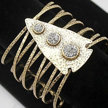 Gold Arrow Head Stone Crystal Romina  Bracelet