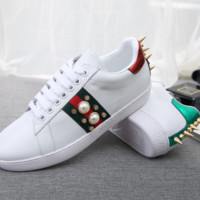 GUCCI Fashion new casual stripe pearl rivet woemn and men shoes White