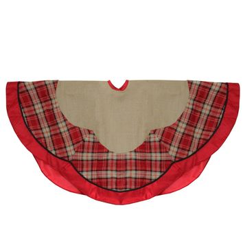 "48"" Countryside Burlap and Red Plaid Christmas Tree Skirt with Scalloped Border"