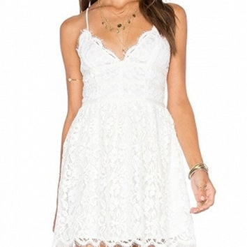 White Scallop Spaghetti Strap Lace Trim Mini Dress