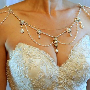 Necklace For The Shoulders,1920's,The Great Gatsby,Pearls,Rhinestone,­Silver,OOAK Bridal Wedding Jewelry,Victorian,Made By Efrat Davidsohn