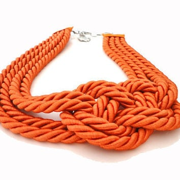 Tangerine Infinity Nautical Knot Necklace by IremOzerdemDesigns
