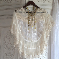 Lace poncho, Romantic country chic shawl wrap