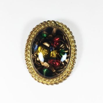West Germany Lucite Rose Brooch Vintage European Jewelry Oval Gold Tone Frame Floral Pin Yellow Red Green Tan Black Colorful Flowers Leaves