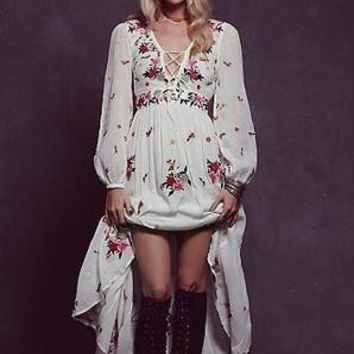 2017 flower embroidery long dress free cotton v-neck long sleeve white boho dress people bandage sexy loose dress bohemian dress