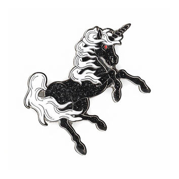 Black Unicorn Glitter Pin