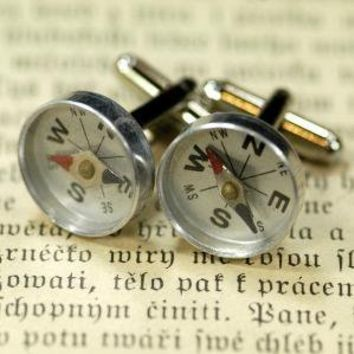 Compass Cufflinks by ragtrader on Etsy