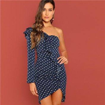 Ace Navy One Shoulder Ruffle Polka Dot Pencil Dress