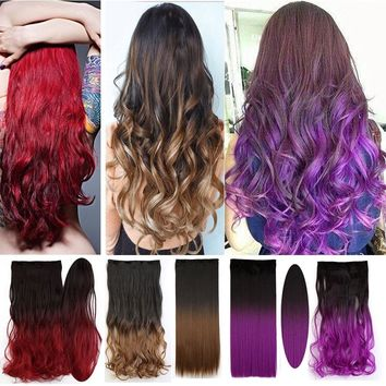 Grade A Ombre Color 25 Inches Straight One Piece Clip in Hair Extensions Hairpiece