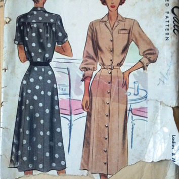 McCall's 7267 Pattern for Misses Dress, Size 14, Circa 1940s Classy Home Sewing Pattern