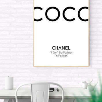 COCO Chanel Printable Quote, I don't do fashion I'm Fashion, Minimalist Art, Printable Art, Typography Poster, Wall Art, Gift For Her