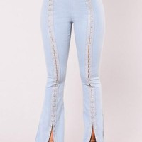 In Limerence Bell Bottom Jeans - Sky Denim