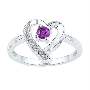 Sterling Silver Women's Round Lab-Created Amethyst Diamond Heart Ring 1/4 Cttw - FREE Shipping (US/CAN)