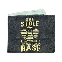 'She Stole My Heart, Like She Stole Your Base' [Softball Dad] Men's Wallet