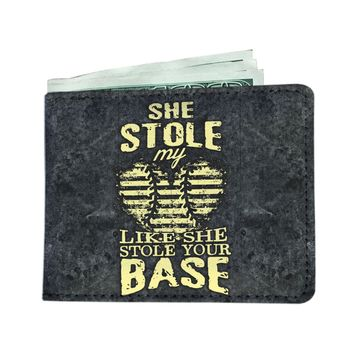 'She Stole My Heart, Like She Stole Your Base' (Softball Dad) Men's Wallet