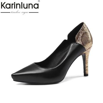 Karinluna 2018 Spring Brand Kid Leather Women Ol Pumps Big Size 33-40 Fretwork Shoes Woman High Heels Lady Work Shoe