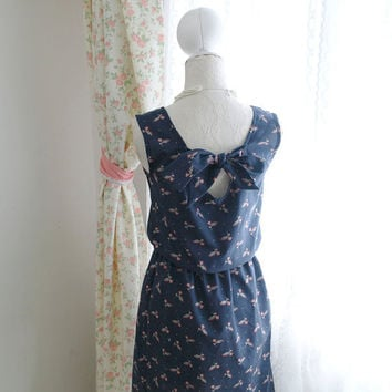 Dark Night Blue Navy Floral Low Back Bow Tie Summer Tea Dress SunDress Sleeveless Tunic Pleated Vintage Inspired / Made to order / Plus size