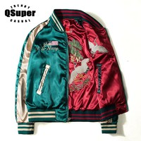 QSUPER Two Sides Luxury Embroidery Bomber Jacket Smooth Men Sukajan Yokosuka Souvenir Jacket Streetwear Hip Hop Baseball Jacket