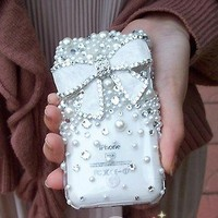Bling Crystal White Bow With Crystals and Pearls iPhone Case