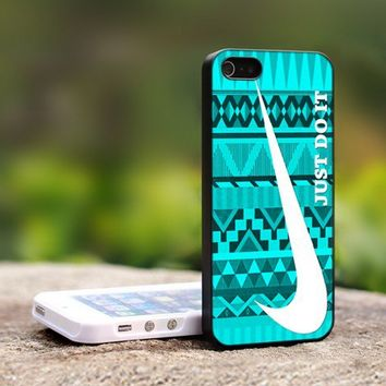 Nike Just Do It Mint Design-For iPhone 5 Black Case Cover