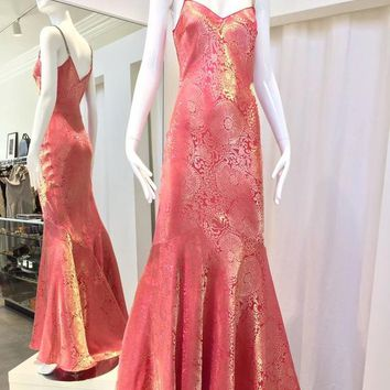 90s John Galliano rose pink and gold silk jacquard bias cut gown