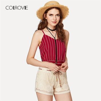 Multicolor Striped Split Tie Back Crop Cami Top V Neck Knot Vacation Crop Vest Women Spaghetti Strap Camisole
