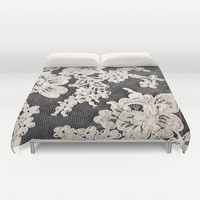 black and white lace- Photograph of vintage lace Duvet Cover by Sylvia Cook Photography