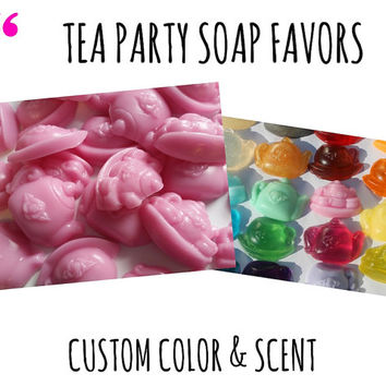 Tea Party Soap Favors - Tea Party Theme Handmade Shaped Scented Soap Party Favors for Birthday, Wedding or Bridal Showers Pack of 25