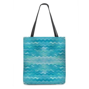 Gentle Waves Tote Bag in Turquoise and Aqua
